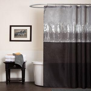 Night Sky Black and Gray Shower Curtain