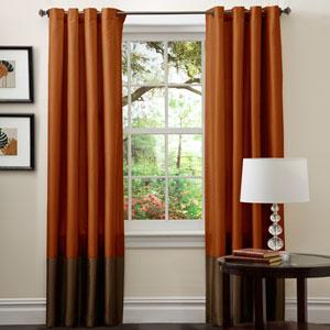 Prima Brown/Rust Window Curtain, Set of Two