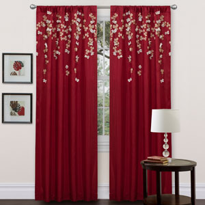 Flower Drop Red Window Curtain Panel