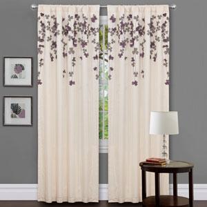 Flower Drop Purple Window Curtain Panel
