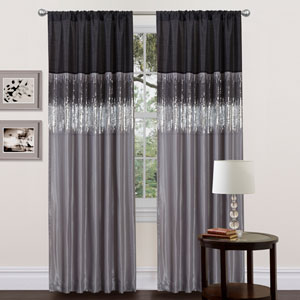 Night Sky Black and Gray Window Curtain Panel
