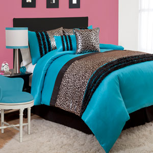 Kenya Black/Blue Five-Piece Comforter Set Twin Juvy
