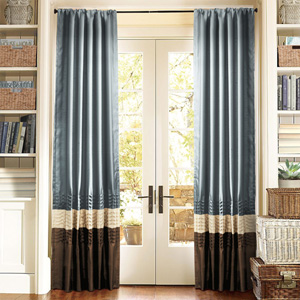 Mia Federal Blue Window Curtain, Set of Two