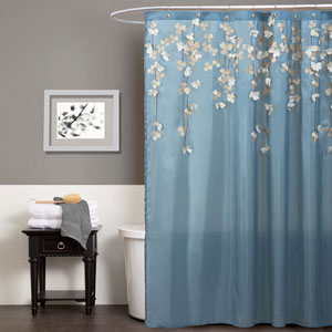Flower Drops Federal Blue and White Shower Curtain