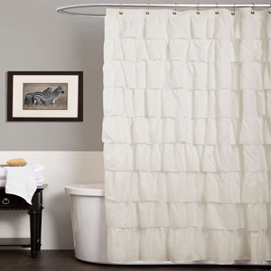 Ruffle Ivory Shower Curtain