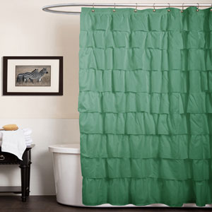 Ruffle Green Shower Curtain