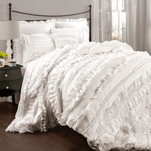 Belle White Queen Size Comforter Sets