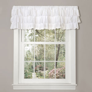 Belle White 18-Inch Three Layer Valance