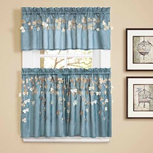 Flower Drops Blue 29 x 24 In. Kitchen Tier Curtain Panel Pair