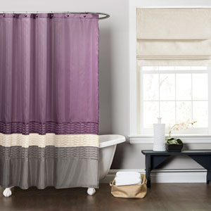 Mia Purple and Gray Shower Curtain