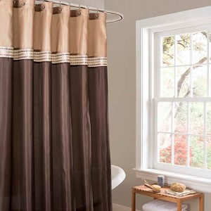 Terra Brown and Beige Shower Curtain