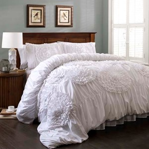 Serena White Three-Piece Queen Comforter Set
