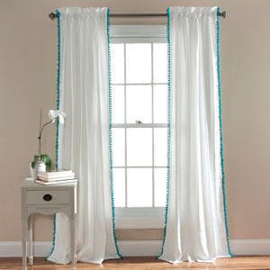 Pom Pom Aqua 84 x 50-Inch Curtain Single Panel