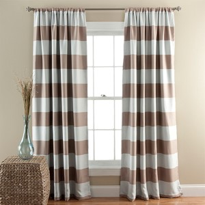 Stripe Taupe 84 x 52-Inch Blackout Window Curtain Panel Pair