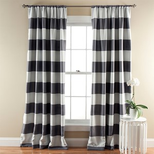 Stripe Gray 84 x 52-Inch Blackout Window Curtain Panel Pair