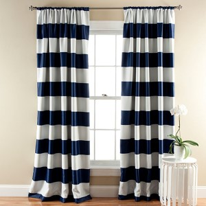 Stripe Navy 84 x 52-Inch Blackout Window Curtain Panel Pair