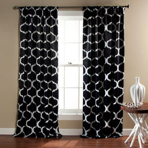 Geo Black 84 x 52-Inch Blackout Curtain Panel Pair