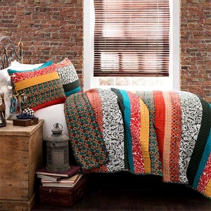 Boho Stripe Turquoise and Tangerine Three-Piece Full/Queen Quilt Set