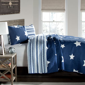 Star Navy Two-Piece Twin Quilt Set