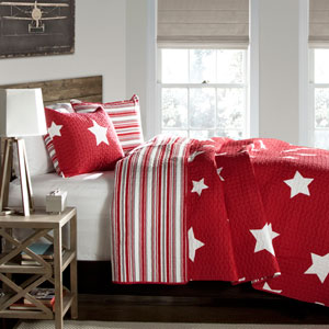Star Red Two-Piece Twin Quilt Set
