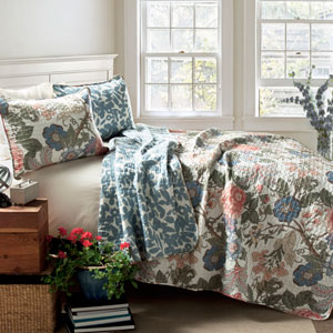Sydney Green and Blue Three-Piece Full/Queen Quilt Set