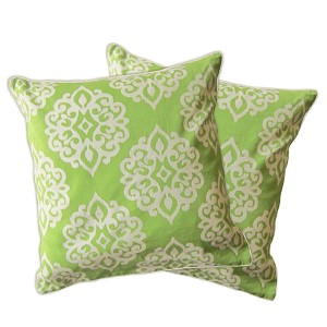 Sophie Herbal Green Zipper Pillow Cover, Set of Two