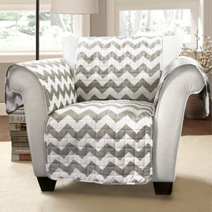 Chevron White and Gray Armchair Furniture Protector