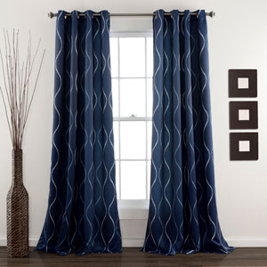Swirl Navy 84 x 52-Inch Curtain Panel Pair