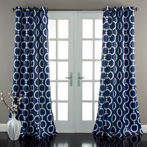 Chainlink Navy 84 x 52-Inch Curtain Panel Pair