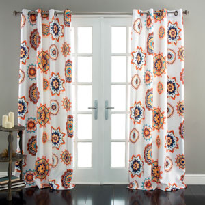 Adrianne White and Tangerine 84 x 52-Inch Curtain Panel Pair