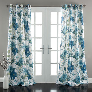 Floral Paisley Blue 84 x 52-Inch Curtain Panel Pair