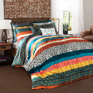 Boho Stripe Multicolor Seven-Piece Full/Queen Comforter Set