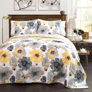 Leah Yellow and Gray Three-Piece Full/Queen Quilt Set