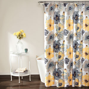 Leah Yellow and Gray Shower Curtain