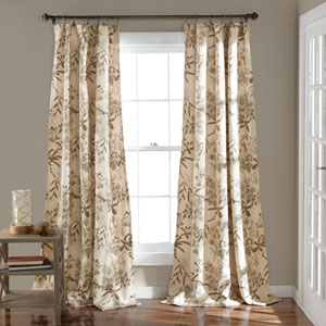 Botanical Garden Beige 84 x 52-Inch Curtain Panel Pair