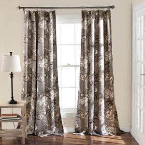 Botanical Garden Gray 84 x 52-Inch Curtain Panel Pair