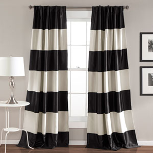 Montego Black Stripe 84 x 52-Inch Window Curtain Set