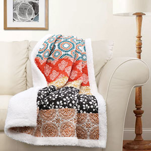 Bohemian Stripe Turqouise and Orange Throw