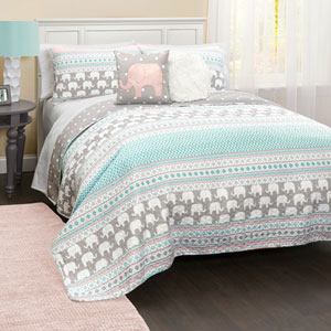 Elephant Stripe 4Pc Twin Quilt Set
