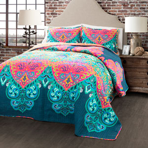 Boho Chic Turquoise and Navy Three-Piece King Quilt Set