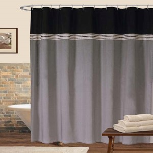 Terra Silver and Black Shower Curtain