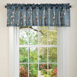 Cocoa Flower Blue and Brown 18 x 84-Inch Valance