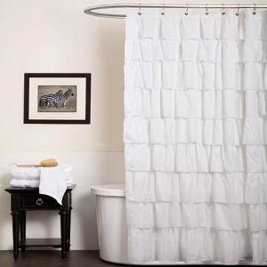 Ruffle White Shower Curtain