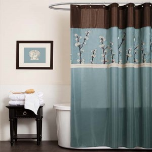 Cocoa Flower Blue and Brown Shower Curtain