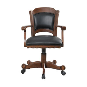 Turk Arm Game Chair with Casters and Leatherette Seat and Back