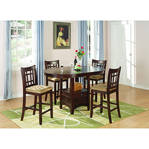 Warm Brown Five-Piece Storage Counter Table Dining Set
