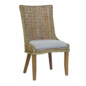 Grey Wash Cottage Woven Dining Chairs with Cushioned Seat, Set of 2
