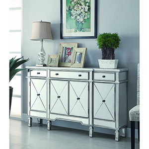 Mirror and Silver Panel 4-Door Wine Cabinet with Removable Rack