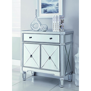 Silver Mirror Panel Two-Door Wine Cabinet with Removable Wine Rack