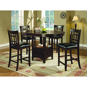 Espresso and Black Five-Piece Storage Counter Table Dining Set